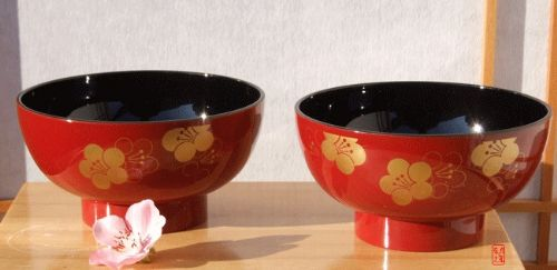 Miso & Salad bowl set Ume blossom on red lacquer - Japanese for two